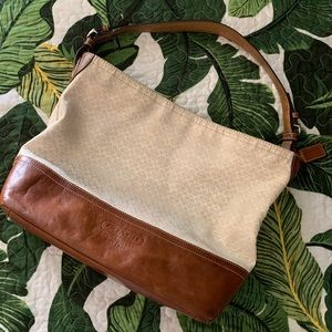 COACH Ivory Signature Sateen Hobo Bag
